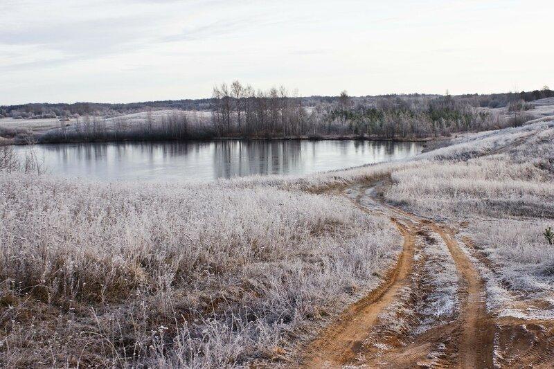 Псковская область, морозное утро в ноябре, озеро Мятьково