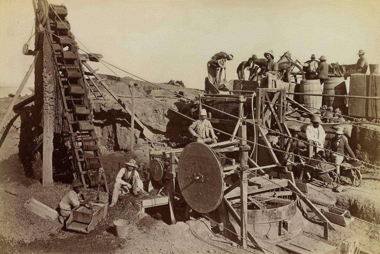Западный Грикуаленд. Техника, используемая для добычи и промывки алмазов на копях