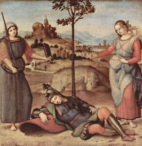 An Allegory ('Vision of a Knight') circa 1504, Raphael (1483–1520) oil on poplar wood, National Gallery, London