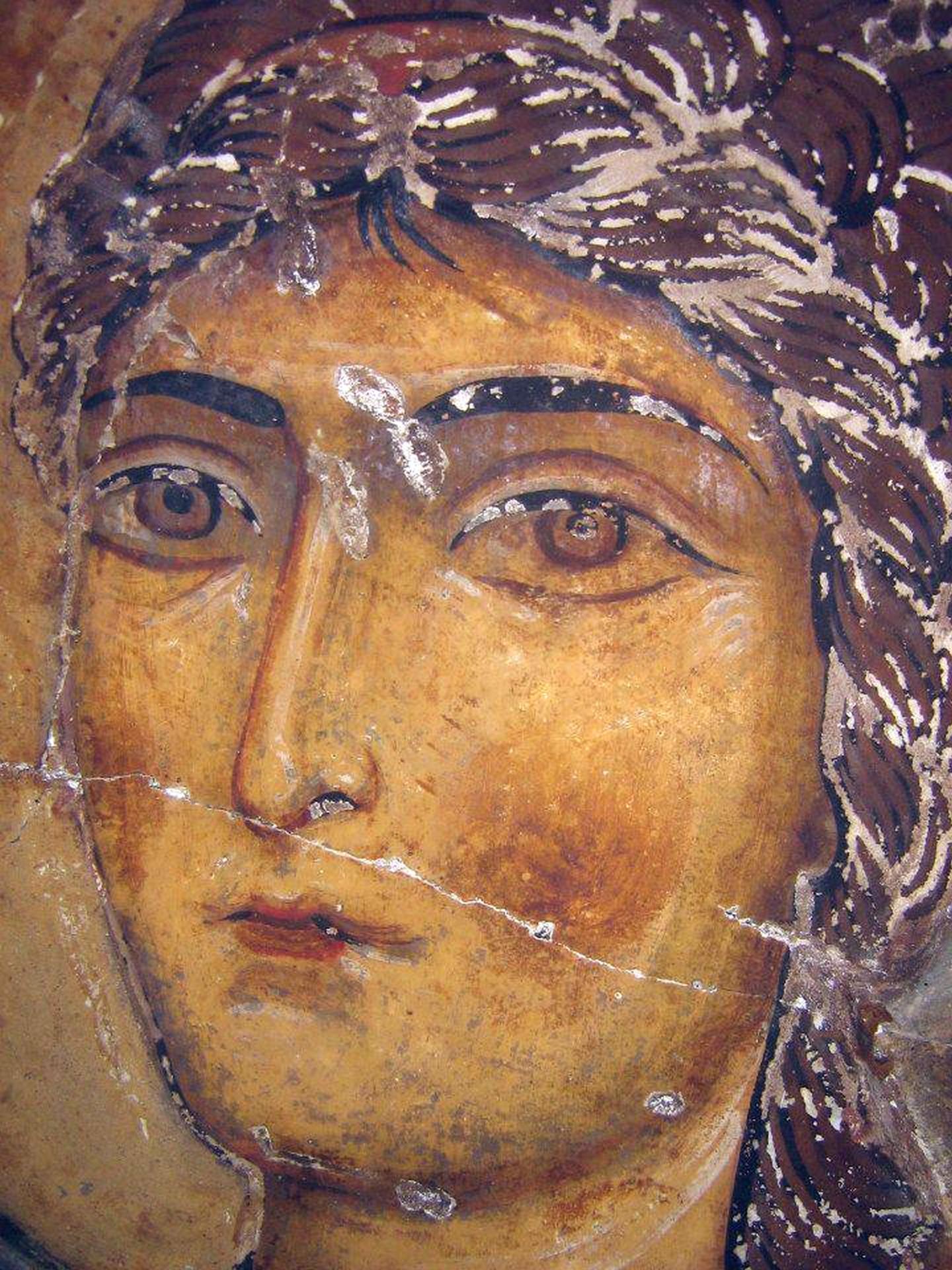 Архангел Гавриил. Фрагмент фрески XI века в храме Атени Сиони, Грузия.