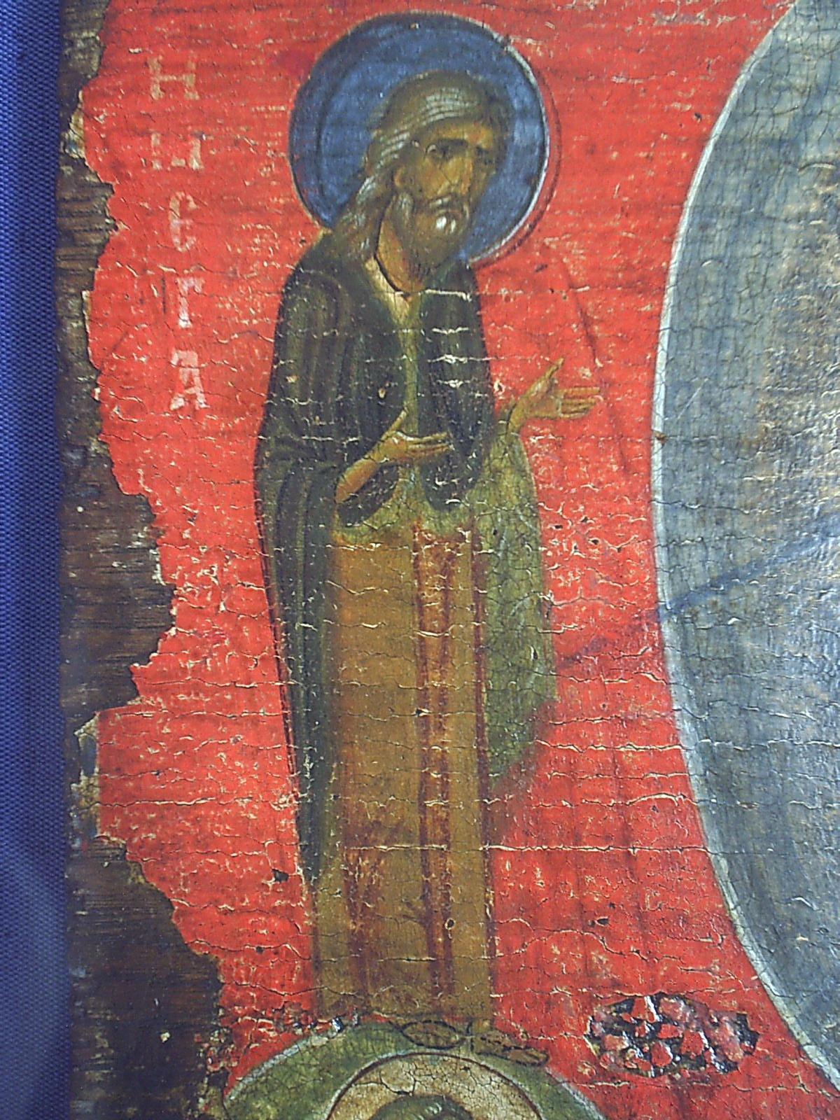 Преображение Господне. Икона. Византия, XII век. ГЭ. Фрагмент - Святой Пророк Илия.