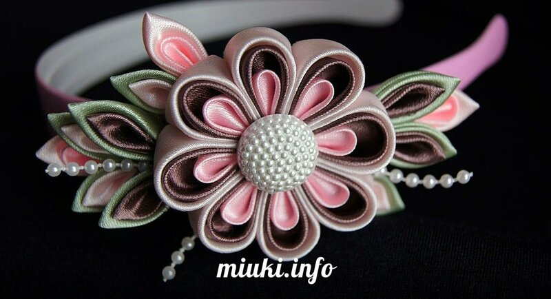 Японские канзаши - цветы из ткани