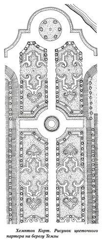 Хемптон Корт на Темзе, рисунок цветочного партера
