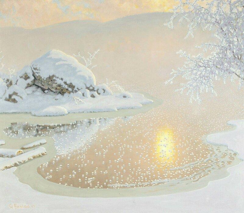 Gustaf Fjaestad. Середина зимы около побережья. 1945.jpg