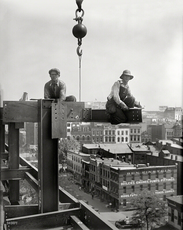 Summer 1929. Washington, D.C. 'Workers on building under construction'