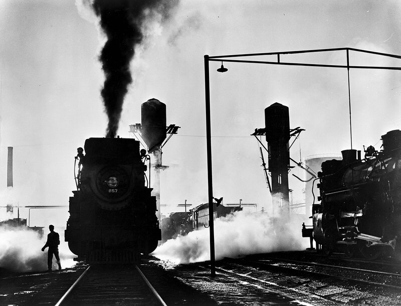 Locomotives 657, Inspection Area, Texas & Pacific Railway Company. ca. 1946. Fort Worth, Tarrant County, Texas
