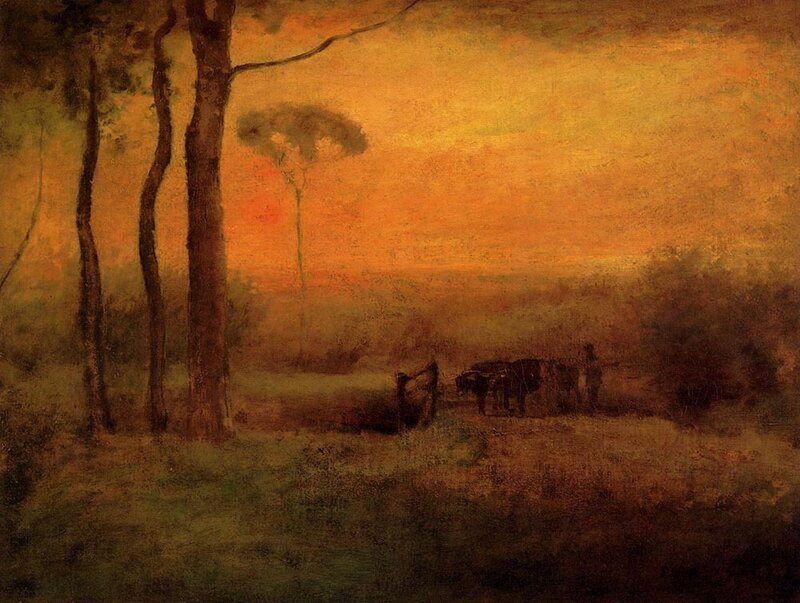 Pastoral Landscape At Sunset