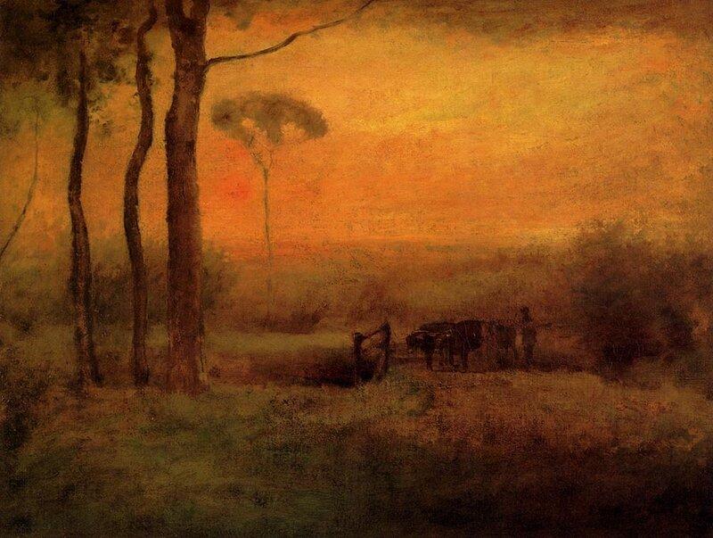Pastoral Landscape At Sunset