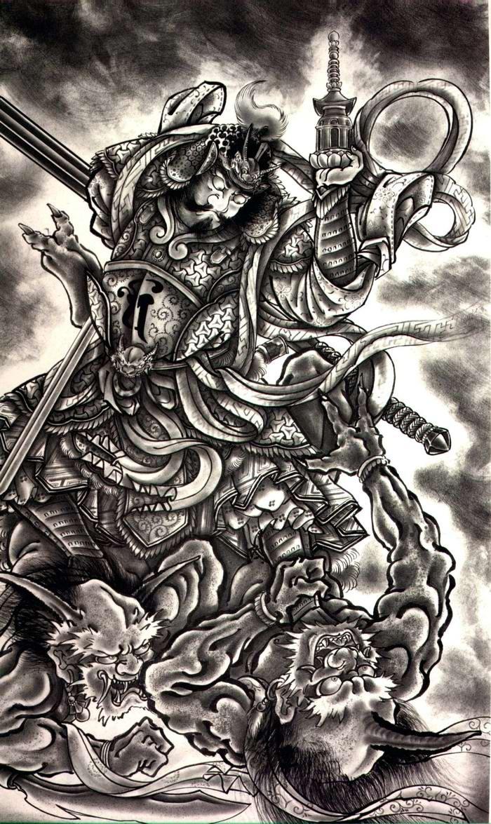 Злобные демоны на эскизах татуировок японского художника Horiyoshi (10)