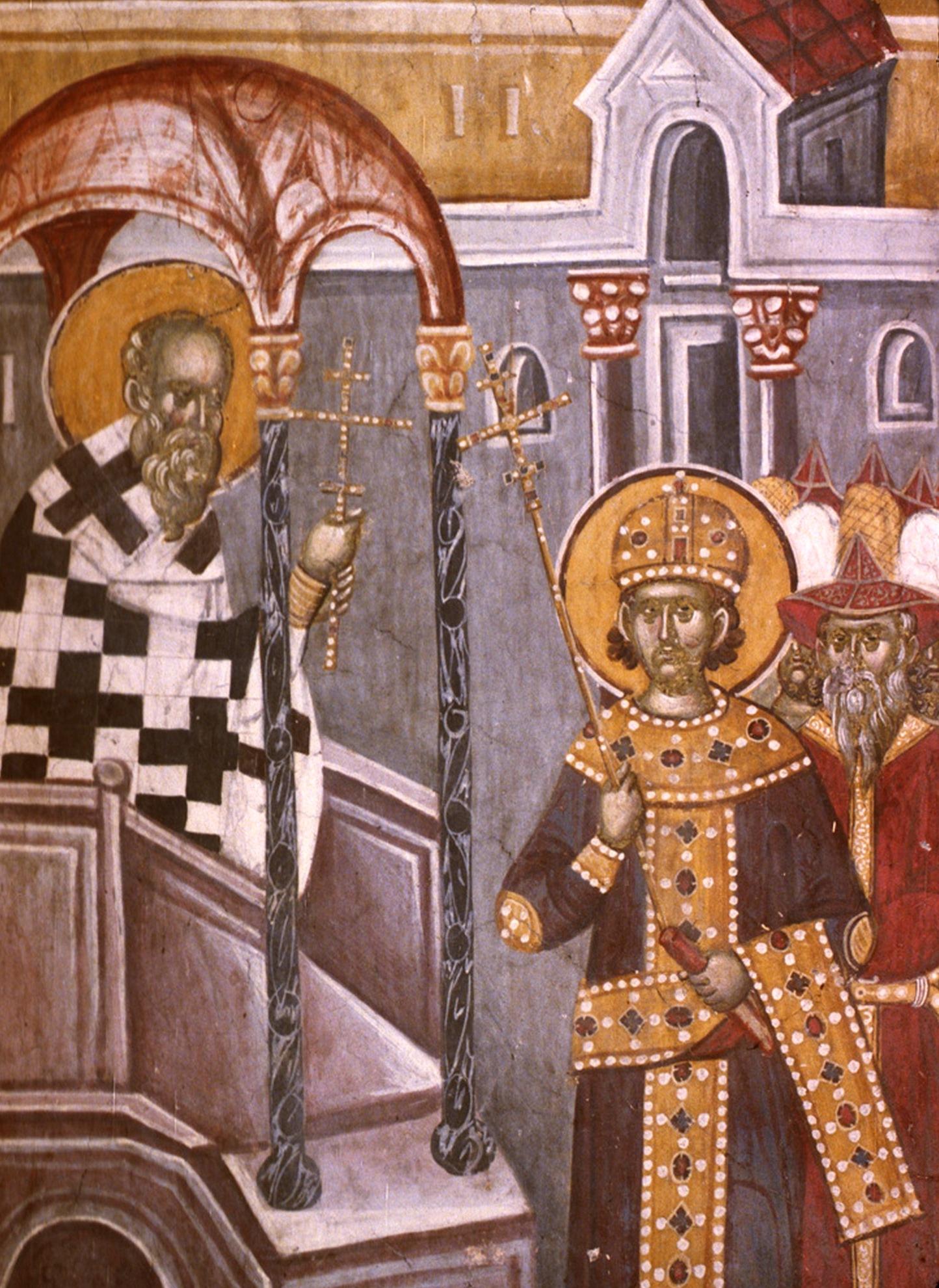 Воздвижение Честного и Животворящего Креста Господня. Фреска монастыря Грачаница, Косово, Сербия. Около 1320 года. Фрагмент.