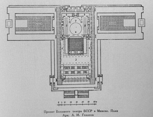 Конкурсный проект на здание Большого государственного оперного театра в Минске, Проект архитектора А. Голосова, план