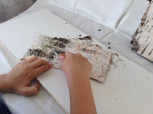 Шаг 1. Очистка коры от наростов и дефектов.
