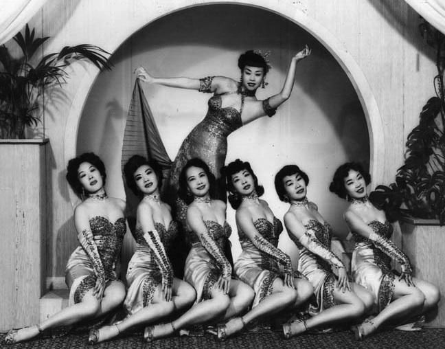 Mai Tai Sing and the chorus-line dancers in a 1940s Forbidden City nightclub publicity shot.jpg