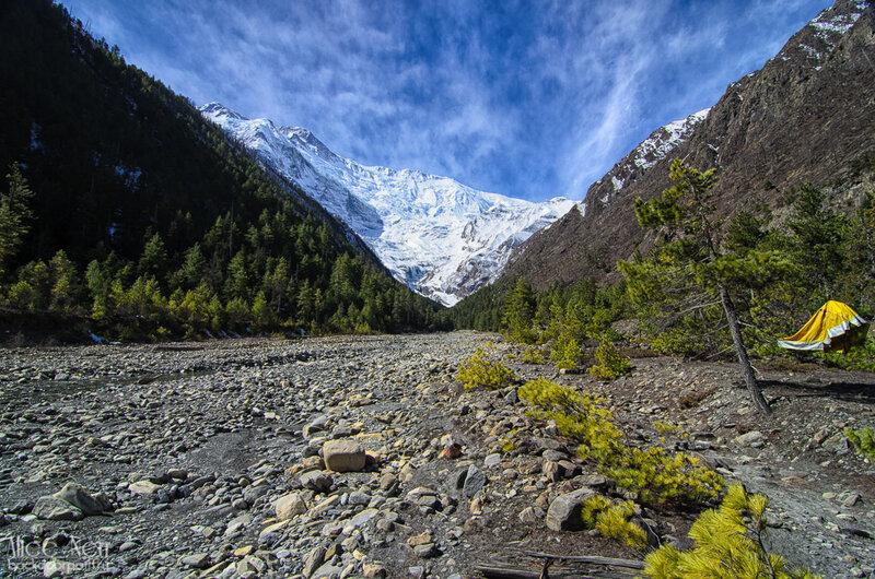 Вид на снежную стеночку из нашего лагеря. Ну, не красота ли? гималаи, непал