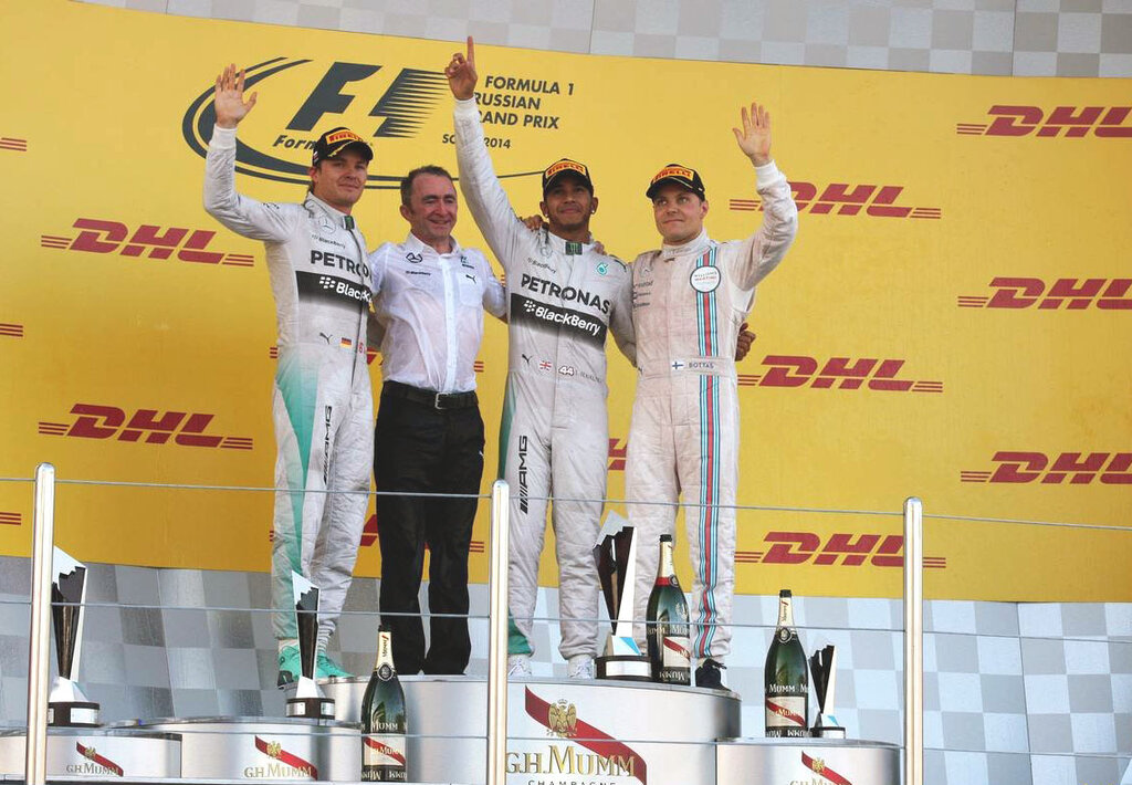 The podium (L to R): Nico Rosberg (GER) Mercedes AMG F1, second; Paddy Lowe (GBR) Mercedes AMG F1 Executive Director (Technical); Lewis Hamilton (GBR) Mercedes AMG F1, race winner; Valtteri Bottas (FIN) Williams, third.12.10.2014. Formula 1 World Champi