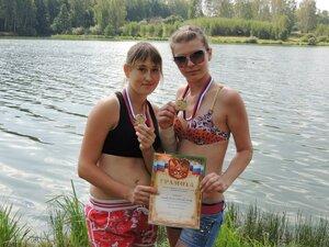 Районный турнир по пляжному волейболу. П. Дубровка, 10 августа 2014 года. Первое место у Саши и Кристины.
