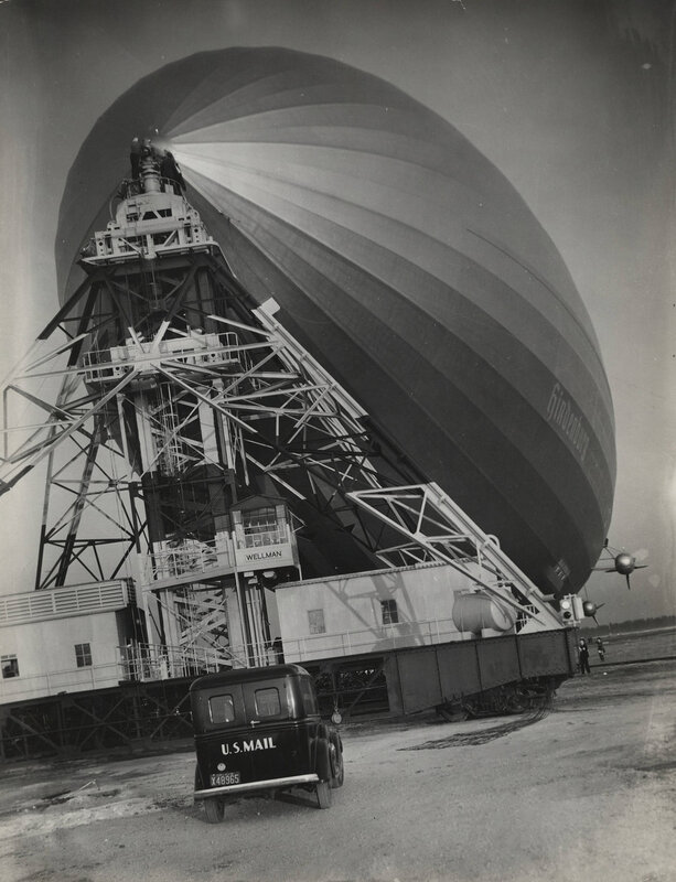 The Hindenburg, with U.S. mail truck in front, Lakehurst, NJ, 1936