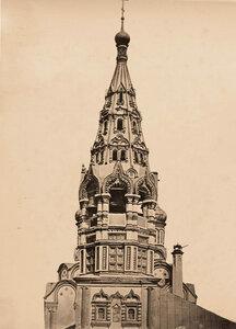 Вид верхней части колокольни церкви Николая Чудотворца в Хамовниках (2-я половина XVII в.,колокольня-1692 г.). Москва г.