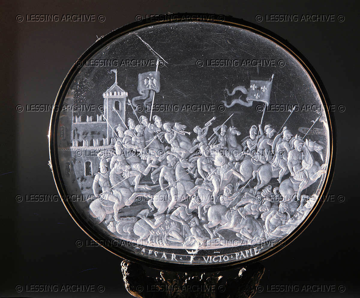Rock-crystal plaque from the seal of Emperor Karl V. Battle of Pavia in 1525 (close-up) between the Holy Roman Empire and France.