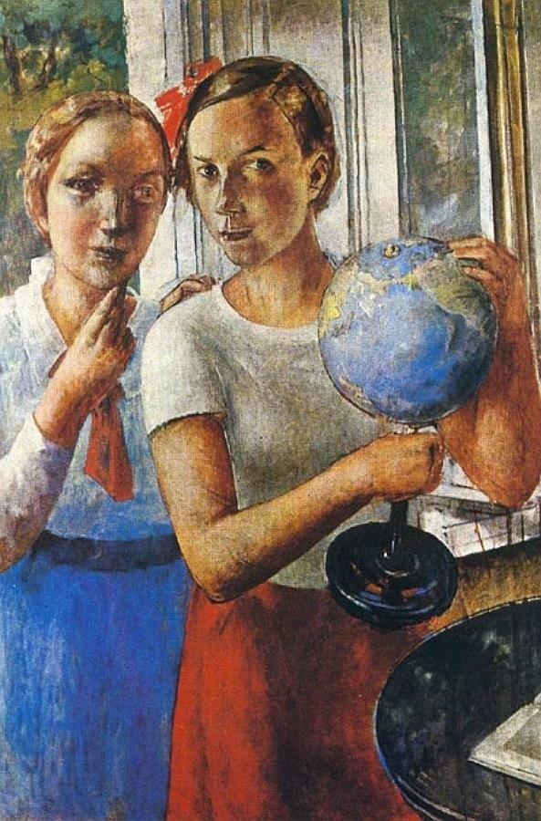 Портрет дочери (Лена) с глобусом, Кузьма Сергеевич Петров-Водкин (1878-1939)