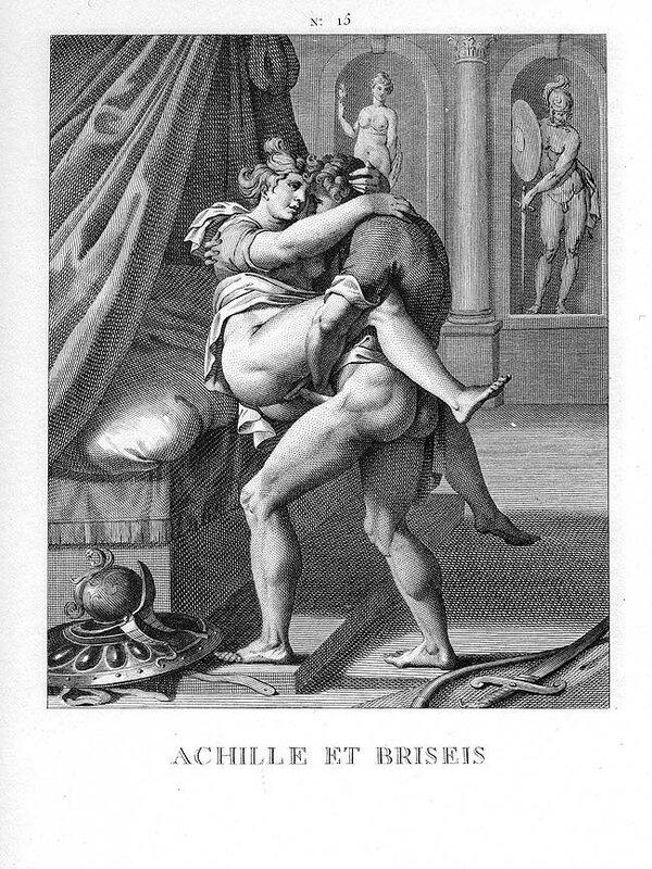 Ахилл и Брисеида. Гравюра имеет сходство с Позой 15 из копии I Modi 1550 года.jpg