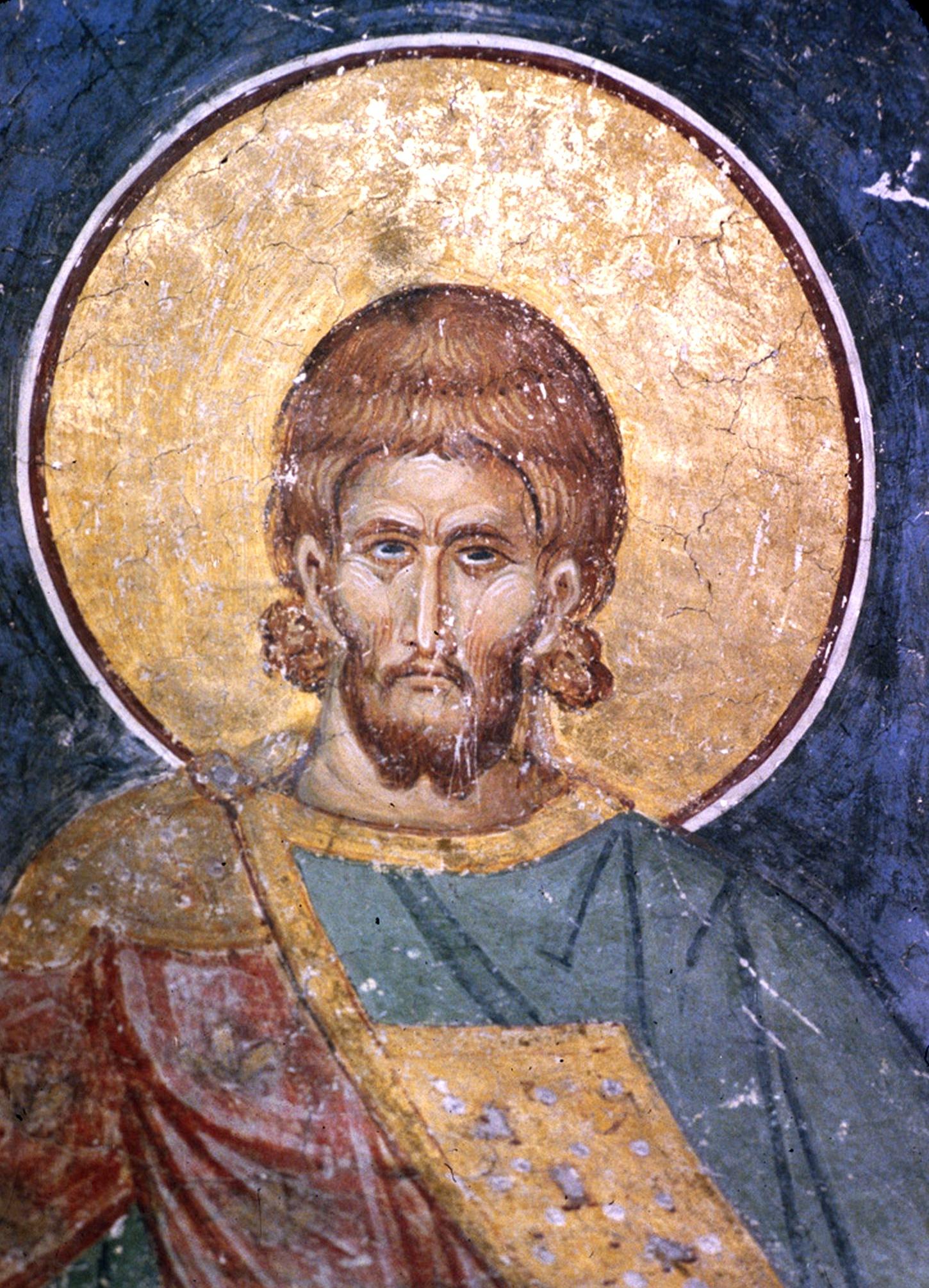 Святой мученик. Фреска монастыря Раваница, Сербия. 1380-е годы.