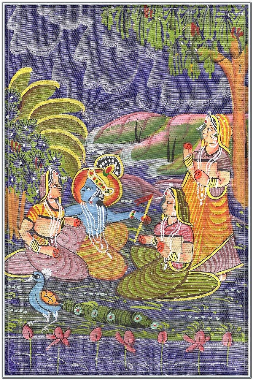 Искусство Индии - Картина на шелке (батик)