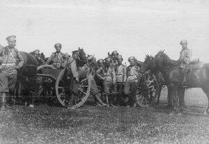 Группа казаков-артиллеристов Донской батареи на стрельбище. 1913