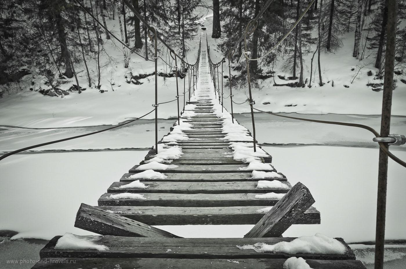 """Фотография 11. Подвесной мост в природном парке Оленьи ручьи. Как до него добраться читайте в отзыве о прогулке осенью 2014 года в разделе """"Походы выходного дня""""."""