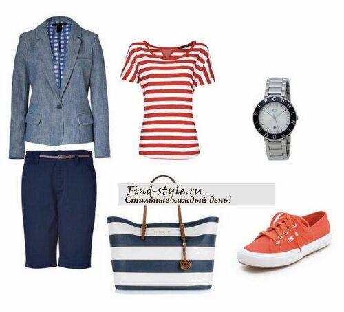 морской стиль в одежде, топ в полоску, скинерсы, удобная обувь, красивая обувь, шорты для любого типа фигуры
