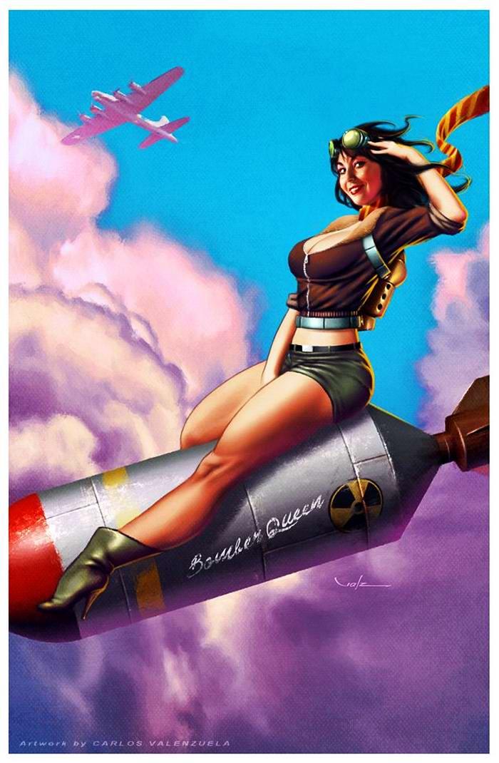 Армейский пин-ап разных художников - девушки с оружием (18)