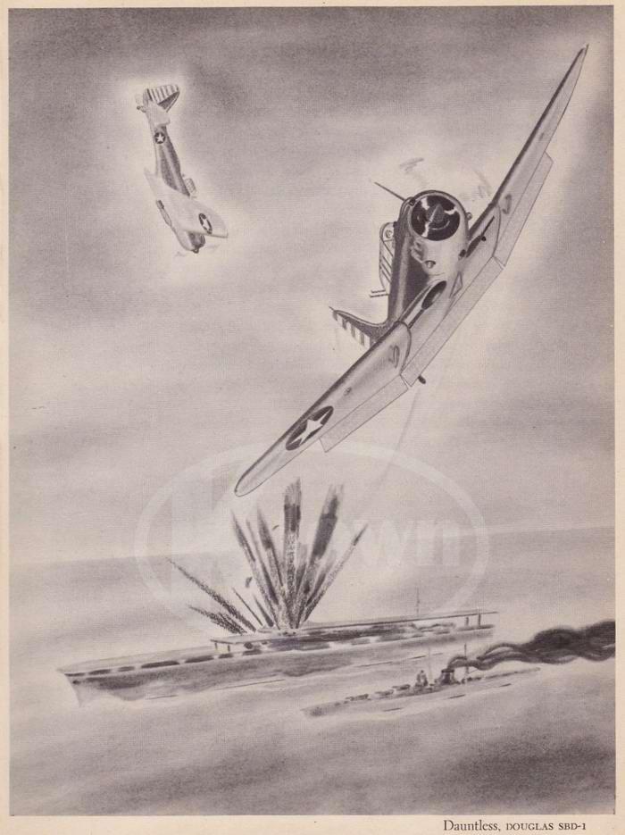 Douglas SBD-1 Dauntless - палубные пикирующие бомбардировщики