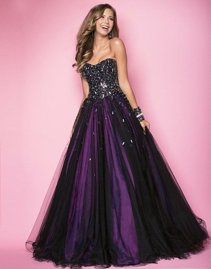 Black and purple prom dress