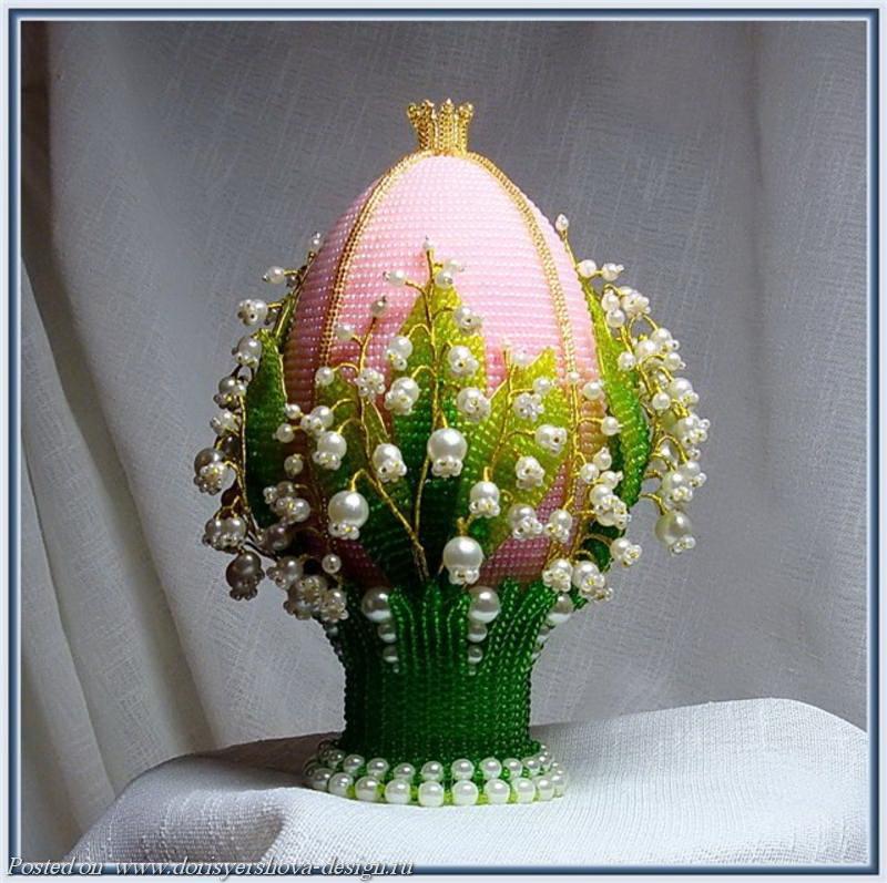ландыши, бисер, яйцо, декоративно-прикладное искусство