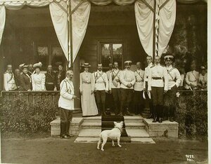 Члены императорской фамилии и приближенные на террасе дома (слева направо в первом ряду)3-я-великая княгиня Мария Павловна(старшая),4-я-великая княгиня Елизавета Маврикиевна,5-й-министр императорского Двора граф В.Б.Фредерикс,6-я-императрица Алекс