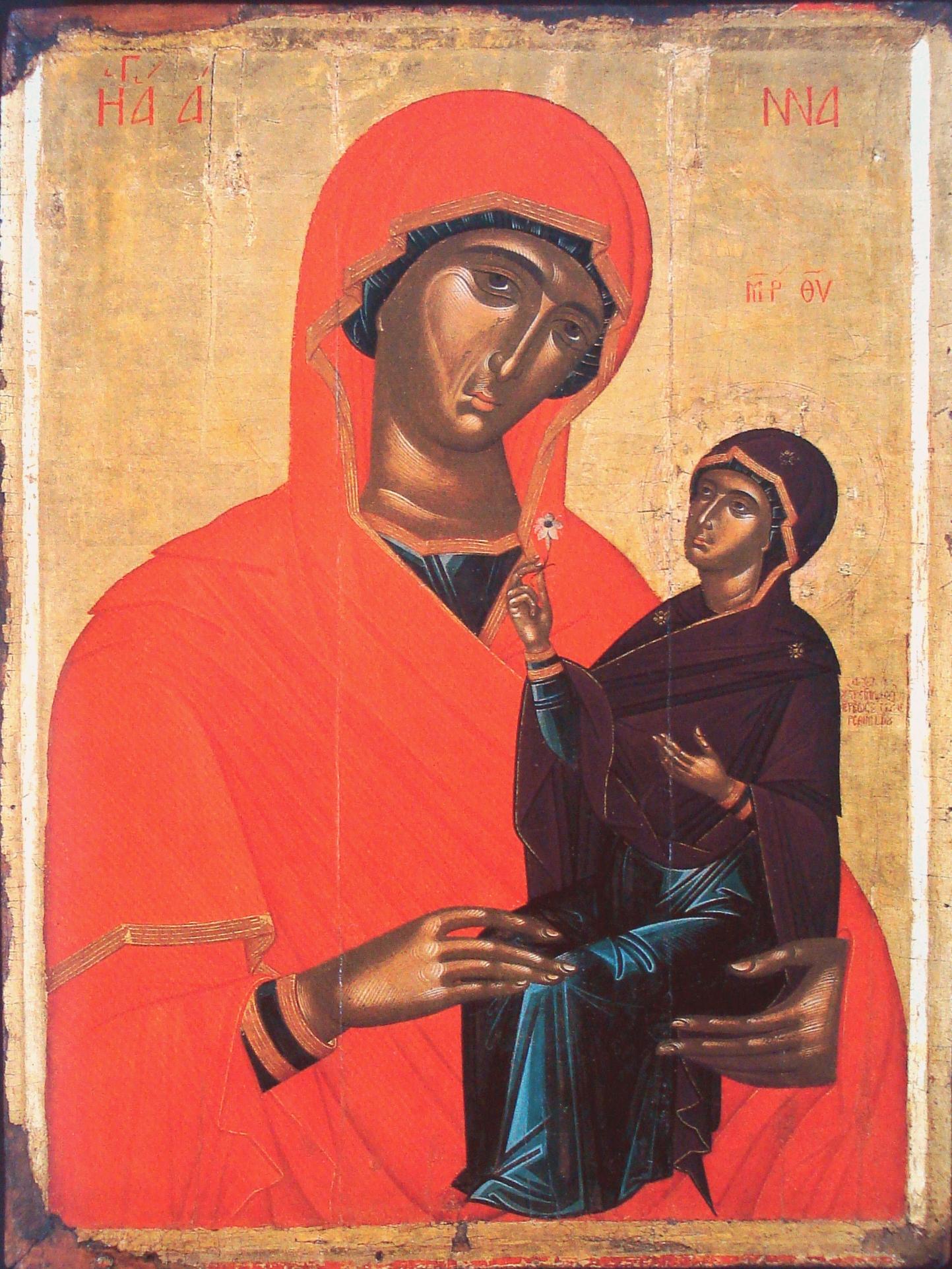 Святая Праведная Анна, матерь Пресвятой Богородицы. Икона. Греция, XV век. Иконописец Ангелос Акотантос.
