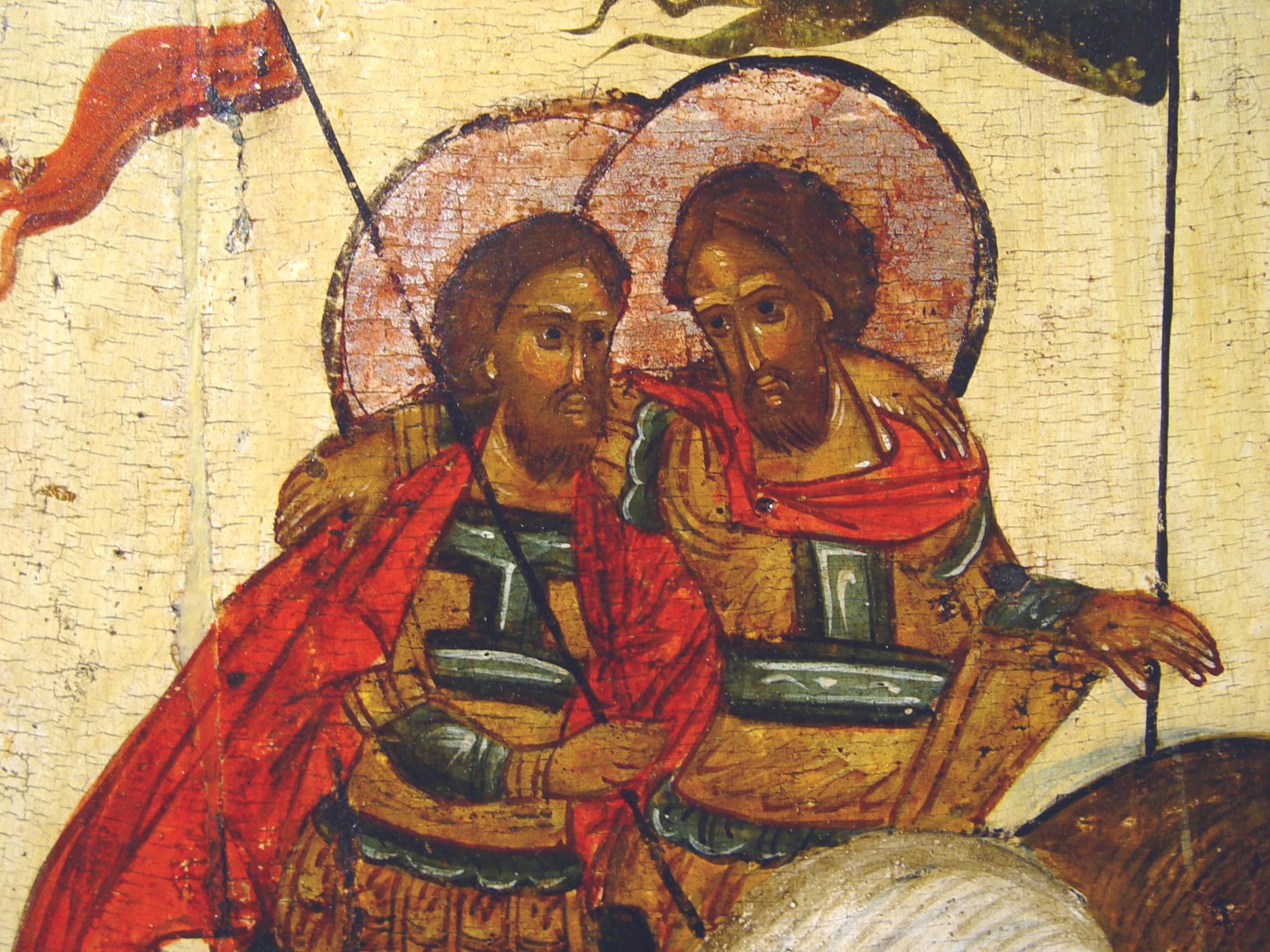 Святые мученики Флор и Лавр. Икона. Новгород, XVI век. Фрагмент.