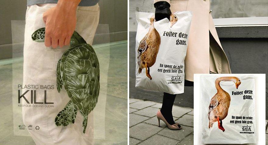 26. Пакет бельгийской организации помощи животным с надписью: «Пластиковые пакеты убивают. Помогите