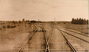 Вид железнодорожных путей вблизи станции. Виленская губ. Олита ст.