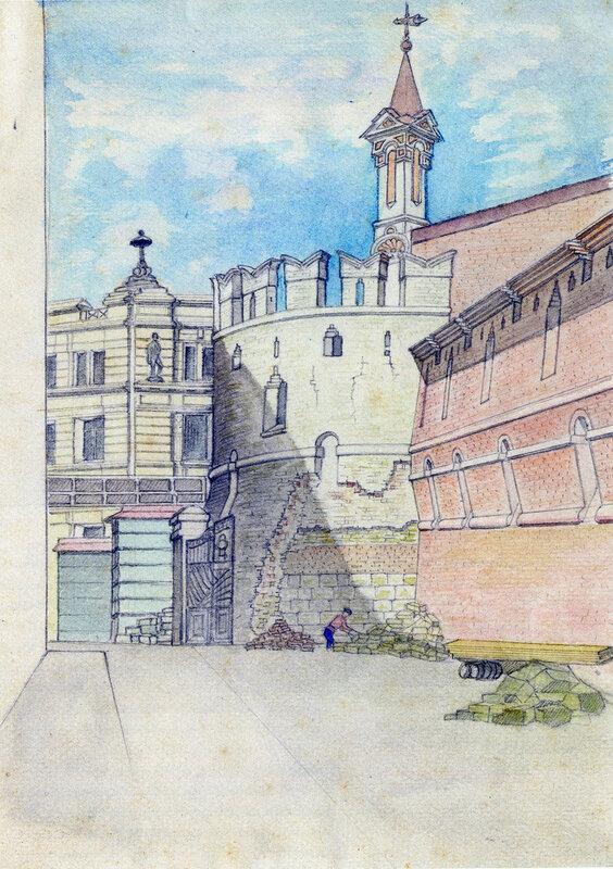 Глухая безымянная башня Китай-городской стены. 1925-26 гг. Д.П. Сухов ГНИМА Р1-11597