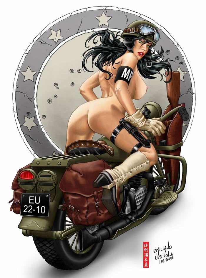Армейский пин-ап разных художников - девушки с оружием (17)