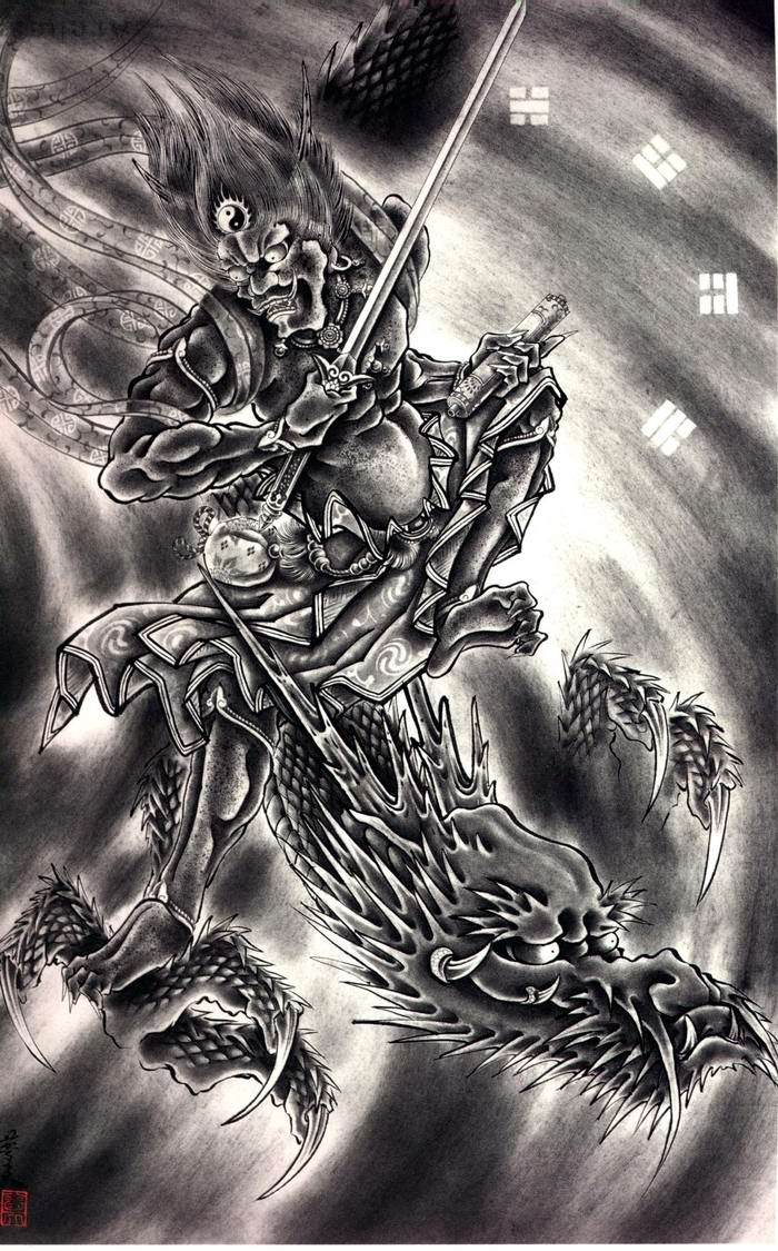 Злобные демоны на эскизах татуировок японского художника Horiyoshi (16)