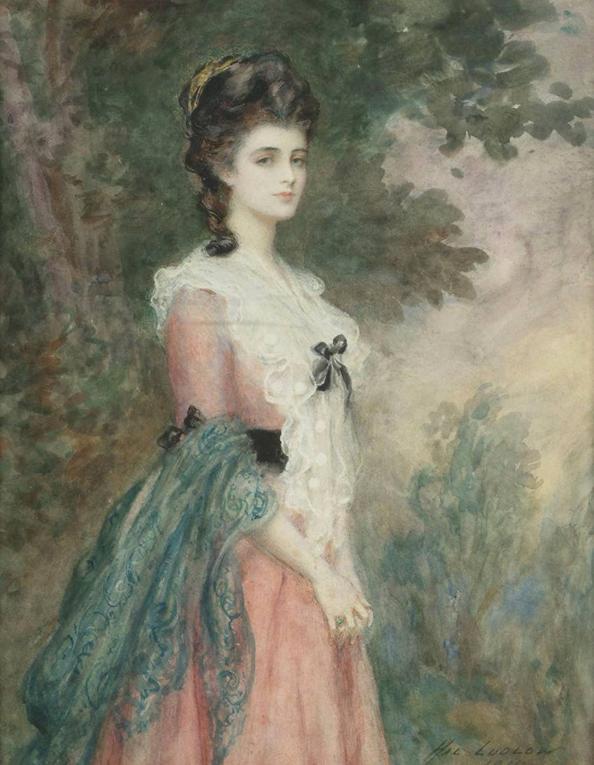 Henry Stephen Ludlow (1861 - - Portrait of a lady in a XVIII century dress.jpg