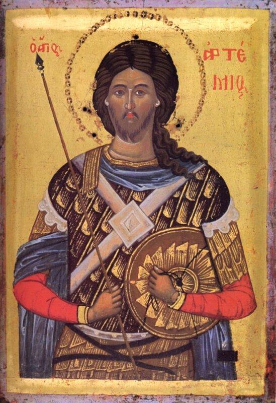 Святой Великомученик Артемий Антиохийский. Икона. Греция, XVI век. Монастырь Пантократор на Святой Горе Афон.