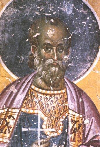 Святой мученик Фотий Никомидийский. Фреска церкви Свв. Иоакима и Анны (Королевской церкви) в монастыре Студеница, Сербия. 1314 год.