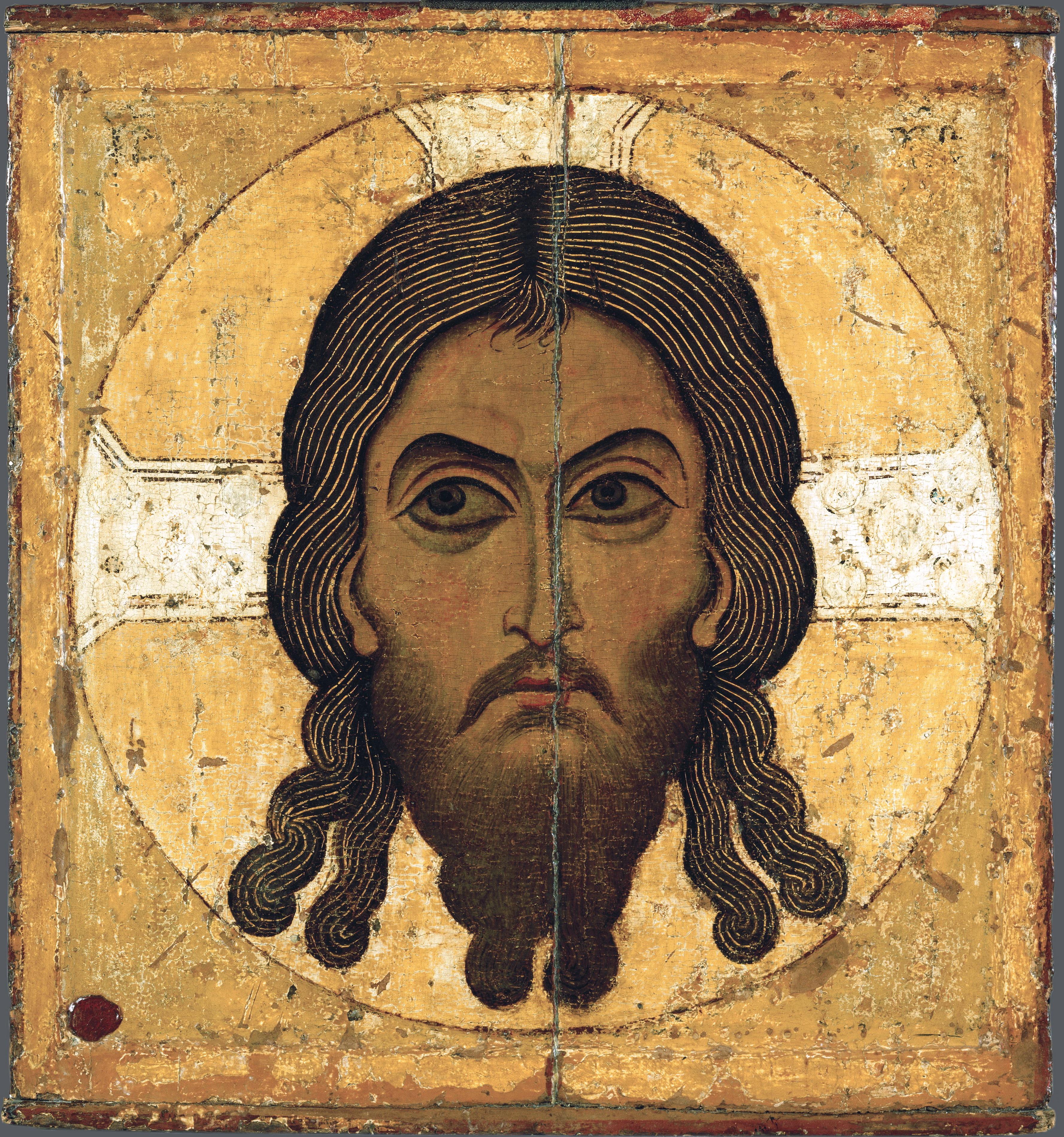 Спас Нерукотворный. Икона. Новгород, XII век. ГТГ.