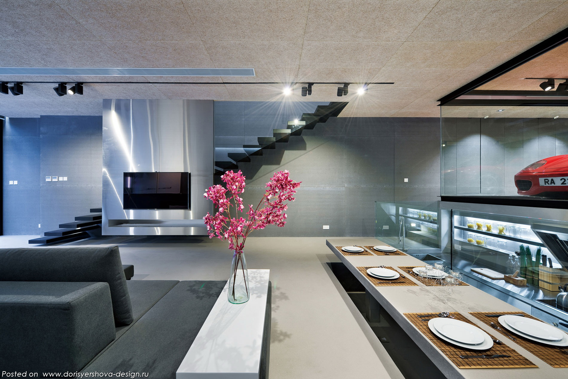 феррари в интерьере, интерьеры дома в стиле хай-тек