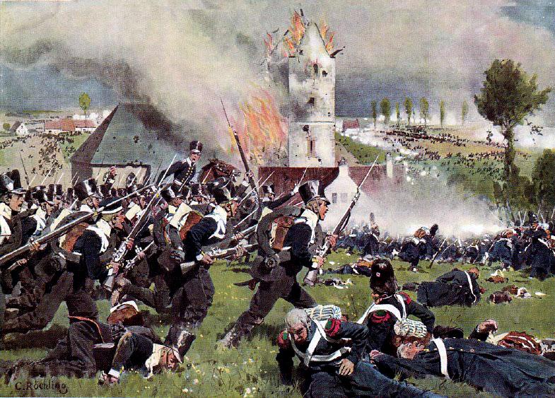 Сражение при Ватерлоо.  Атака 2-го прусского пехотного полка на позиции фр. гвардии у Планшенуа.