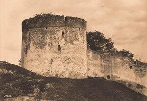 Вид одной из башен и части стены Псково-Печерского монастыря. Псковская губ.
