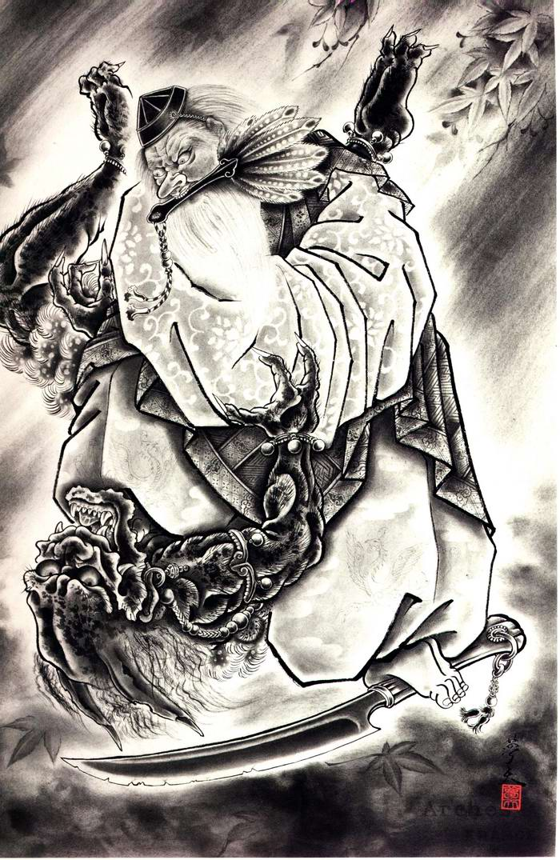 Злобные демоны на эскизах татуировок японского художника Horiyoshi (23)